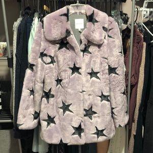Avec Les Filles Faux Fur Star Coat